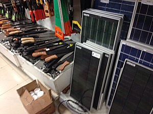 machetes and solar panels